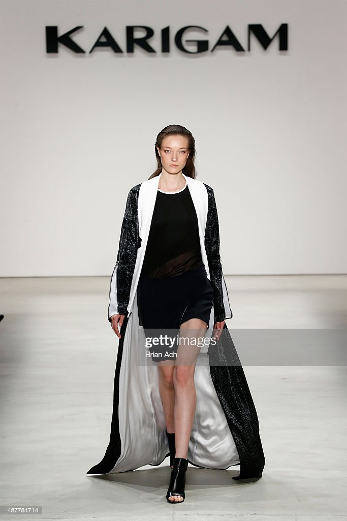 <a gi-track='captionPersonalityLinkClicked' href=/galleries/search?phrase=Yumi+Lambert&family=editorial&specificpeople=10529076 ng-click='$event.stopPropagation()'>Yumi Lambert</a> walks the runway at the Karigam fashion show during Spring 2016 New York Fashion Week: The Shows at The Gallery, Skylight at Clarkson Sq on September 11, 2015 in New York City.