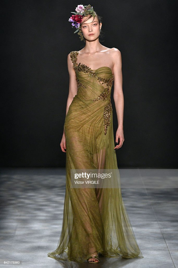 Yumi Lambert walks the runway at the Marchesa Ready to Wear Fall Winter 2017-2018 fashion show during New York Fashion Week on February 15, 2017 in New York City.