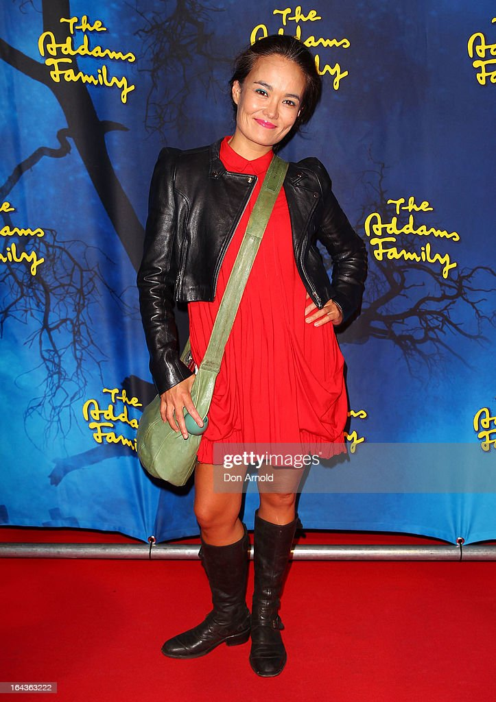 Yumi Stynes arrives for 'The Addams Family' Musical Premiere at the Capitol Theatre on March 23, 2013 in Sydney, Australia.