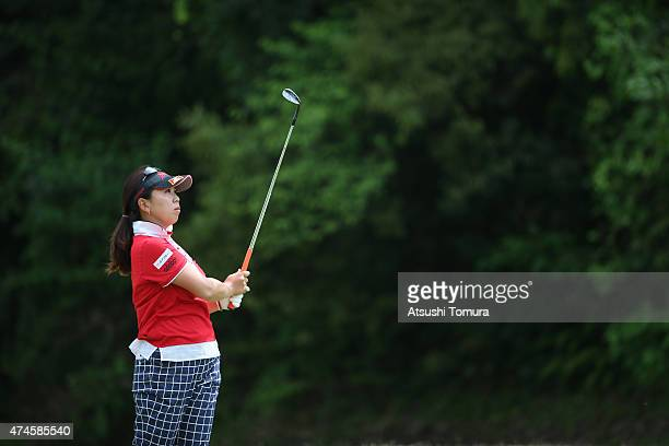 Yumiko Yoshida of Japan hits her second shot on the 17th hole on the 18th hole during the final round of the Chukyo Television Bridgestone Ladies...