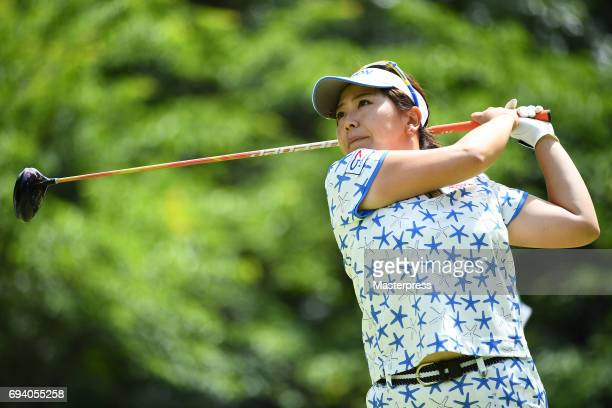 Yumiko Yoshida of Japan hits her tee shot during the second round of the Suntory Ladies Open at the Rokko Kokusai Golf Club on June 9 2017 in Kobe...