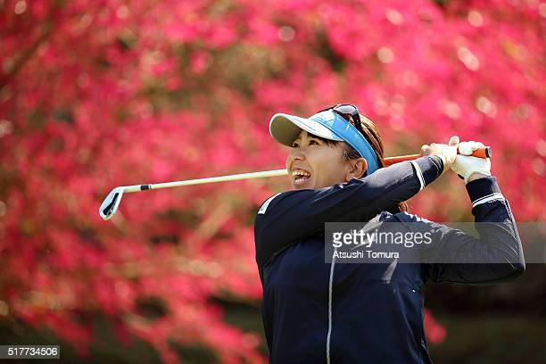 Yumiko Yoshida of Japan hits her tee shot on the 16th hole during the final round of the AXA Ladies Golf Tournament at the UMK Country Club on March...