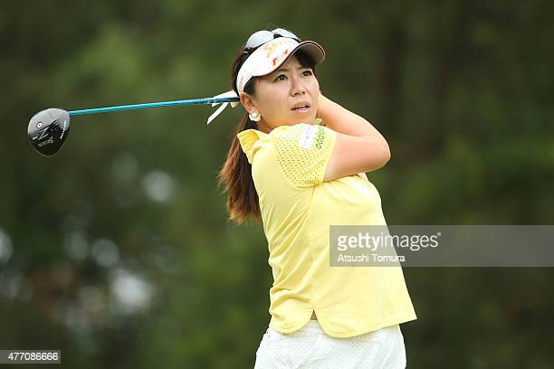 Yumiko Yoshida of Japan hits her tee shot on the 2nd hole during the Suntory Ladies Open at the Rokko Kokusai Golf Club on June 14 2015 in Kobe Japan