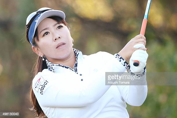 Yumiko Yoshida of Japan hits her tee shot on the 2nd hole during the third round of the Daio Paper Elleair Ladies Open 2015 at the Itsuurateien...