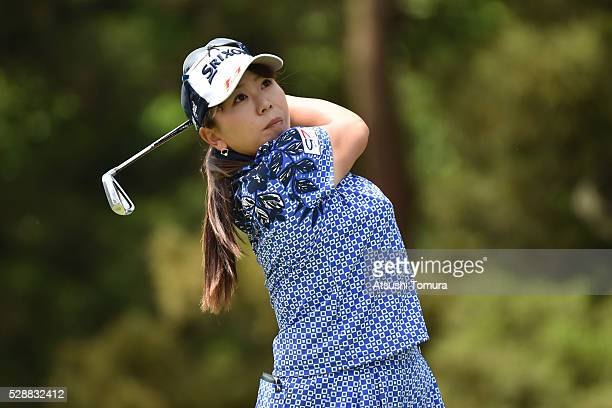 Yumiko Yoshida of Japan hits her tee shot on the 2nd hole during the third round of the World Ladies Championship Salonpas Cup at the Ibaraki Golf...