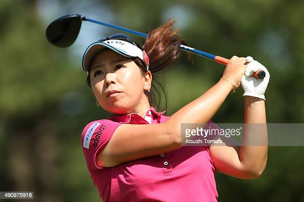 Yumiko Yoshida of Japan hits her tee shot on the 3rd hole during second round of Japan Women's Open 2015 at the Katayamazu Golf Culb on October 2...