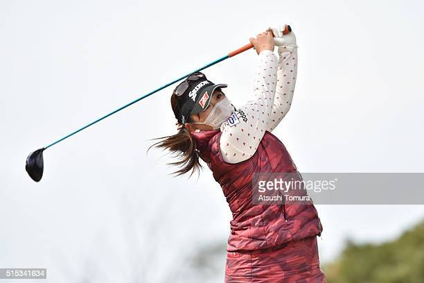 Yumiko Yoshida of Japan hits her tee shot on the 3rd hole during the final round of the Yokohama Tire PRGR Ladies Cup at the Tosa Country Club on...