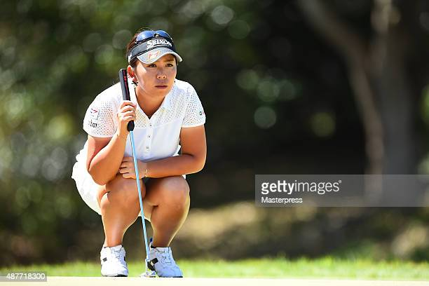 Yumiko Yoshida of Japan lines up during the second round of the 48th LPGA Championship Konica Minolta Cup 2015 at the Passage Kinkai Island Golf Club...