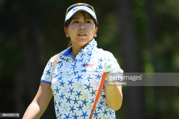 Yumiko Yoshida of Japan looks on during the second round of the Suntory Ladies Open at the Rokko Kokusai Golf Club on June 9 2017 in Kobe Japan