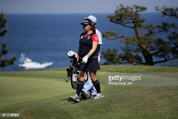 Yumiko Yoshida of Japan on the 16th hole during the final round of Fujisankei Ladies Classic at the Kawana Hotel Golf Course Fuji Course on April 23...