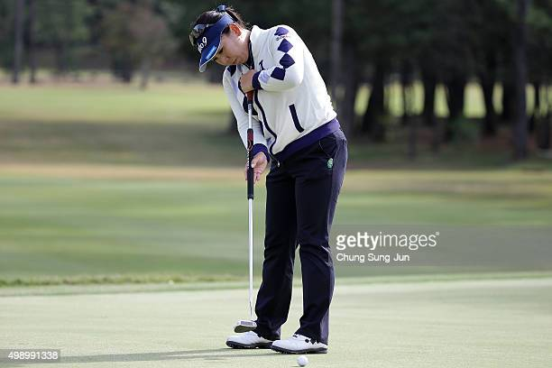 Yumiko Yoshida of Japan plays a putt on the 7th hole during the third round of the LPGA Tour Championship Ricoh Cup 2015 at the Miyazaki Country Club...