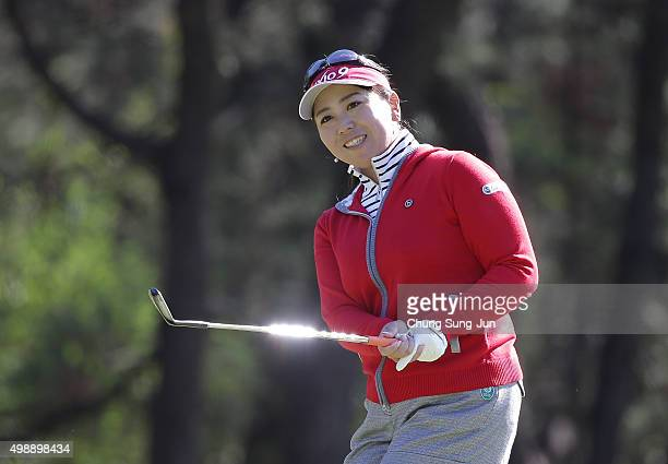 Yumiko Yoshida of Japan plays a shot on the 14th hole during the second round of the LPGA Tour Championship Ricoh Cup 2015 at the Miyazaki Country...