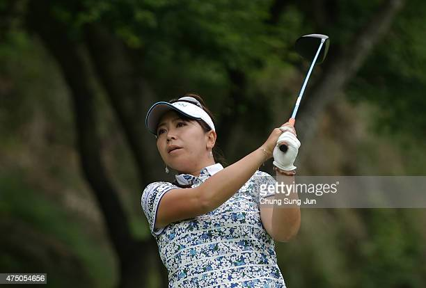 Yumiko Yoshida of Japan plays a tee shot during the first round of the Resorttrust Ladies at the Maple Point Golf Club on May 29 2015 in Yamanashi...