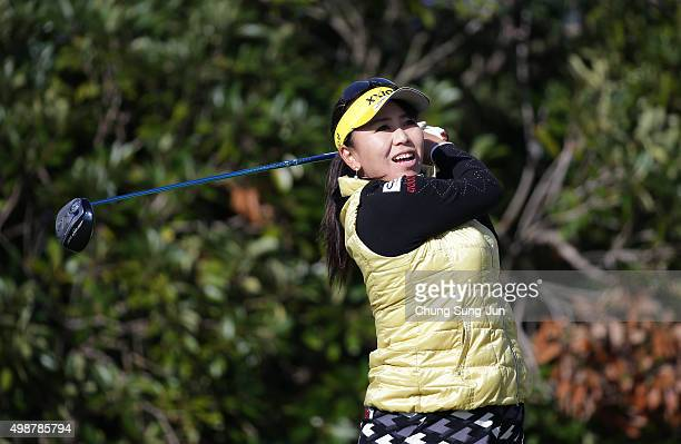 Yumiko Yoshida of Japan plays a tee shot on the 3rd hole during the first round of the LPGA Tour Championship Ricoh Cup 2015 at the Miyazaki Country...
