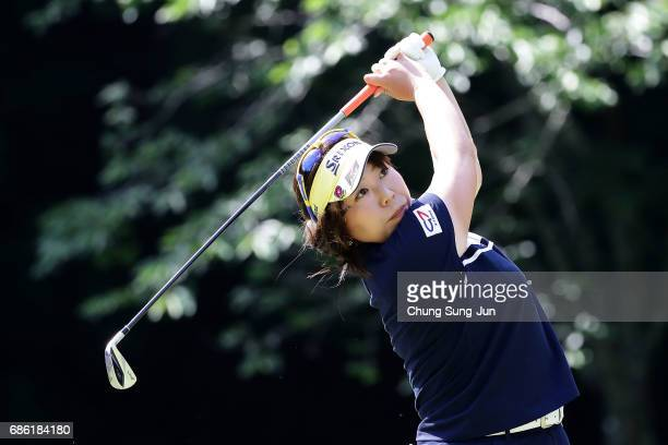 Yumiko Yoshida of Japan plays a tee shot on the 5th hole during the final round of the Chukyo Television Bridgestone Ladies Open at the Chukyo Golf...