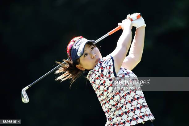 Yumiko Yoshida of Japan plays a tee shot on the 5th hole of second round during the Chukyo Television Bridgestone Ladies Open at the Chukyo Golf Club...