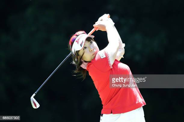 Yumiko Yoshida of Japan plays a tee shot on the fifth hole of first round during the Chukyo Television Bridgestone Ladies Open at the Chukyo Golf...
