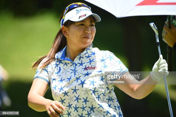 Yumiko Yoshida of Japan smiles during the second round of the Suntory Ladies Open at the Rokko Kokusai Golf Club on June 9 2017 in Kobe Japan