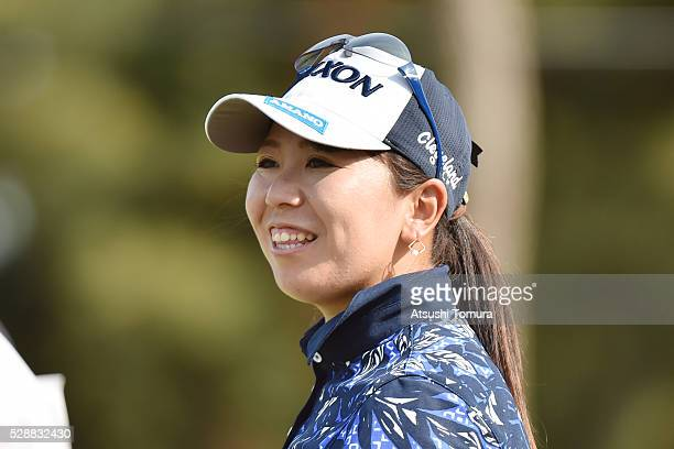 Yumiko Yoshida of Japan smiles during the third round of the World Ladies Championship Salonpas Cup at the Ibaraki Golf Club on May 7 2016 in...