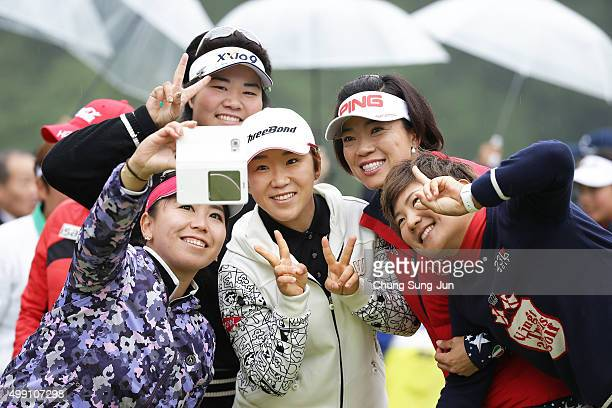 Yumiko Yoshida of Japan takes a selfie with Shiho Oyama Misuzu Narita Miki Sakai of Japan and JiYai Shin of South Korea after the LPGA Tour...