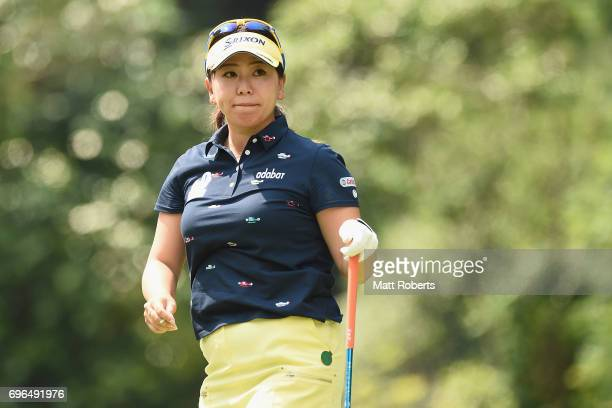 Yumiko Yoshida of Japan watches her tee shot on the 2nd hole during the first round of the Nichirei Ladies at the Sodegaura Country Club Shinsode...
