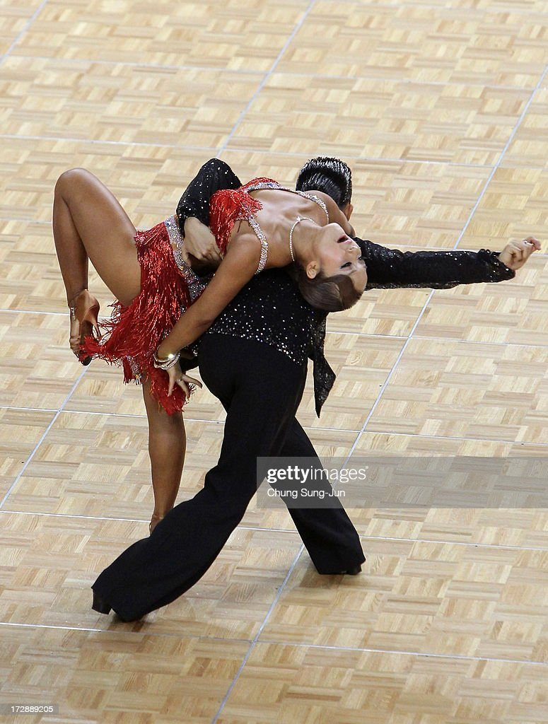 Yumiya Kubota and partner Rara Kubota of Japan compete in the Dancesport- Latin Jive Final at Samsan World Gymnasium during day seven of the 4th Asian Indoor & Martial Arts Games on July 5, 2013 in Incheon, South Korea.