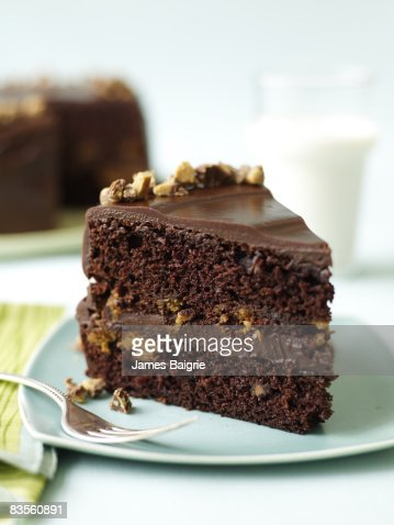 Yummy slice of chocolate cake : Stock Photo