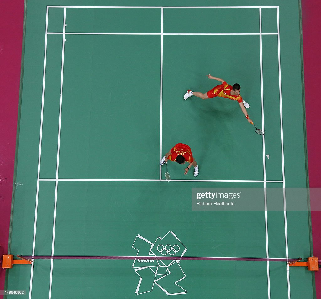 Yun Cai and Haifeng Fu (R) of China compete against Mathias Boe and Carsten Mogensen of Denmark in their Men's Doubles Badminton Gold Medal match on Day 9 of the London 2012 Olympic Games at Wembley Arena on August 5, 2012 in London, England.