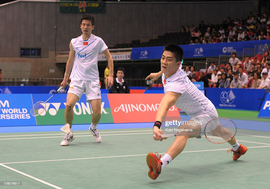 Yun Cai and Halfeng Fu of China compete in the Men's Doubles semifinals match against Klen Keat Koo and Boon Heong Tan of Malaysia during the day four of the Yonex Open Japan 2011 at Tokyo Metropolitan Gymnasium on September 24, 2011 in Tokyo, Japan.