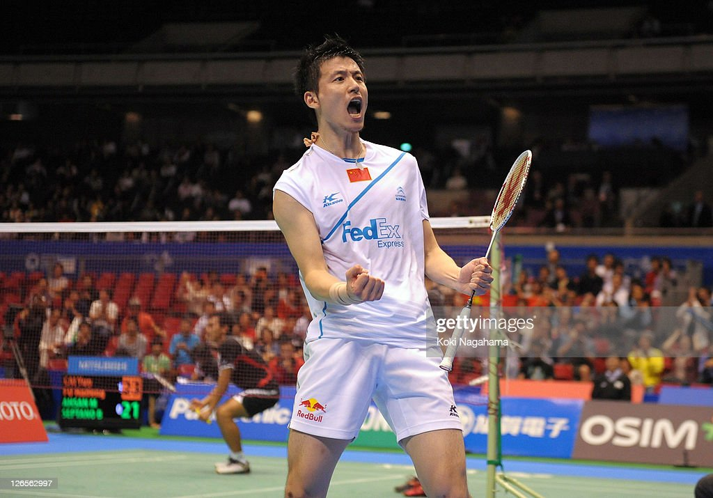 Yun Cai of China celebrate after the Men's final match againstMohammad Ahsan and Bona Septano of Indonasia during the day five of the Yonex Open Japan 2011 at Tokyo Metropolitan Gymnasium on September 25, 2011 in Tokyo, Japan.