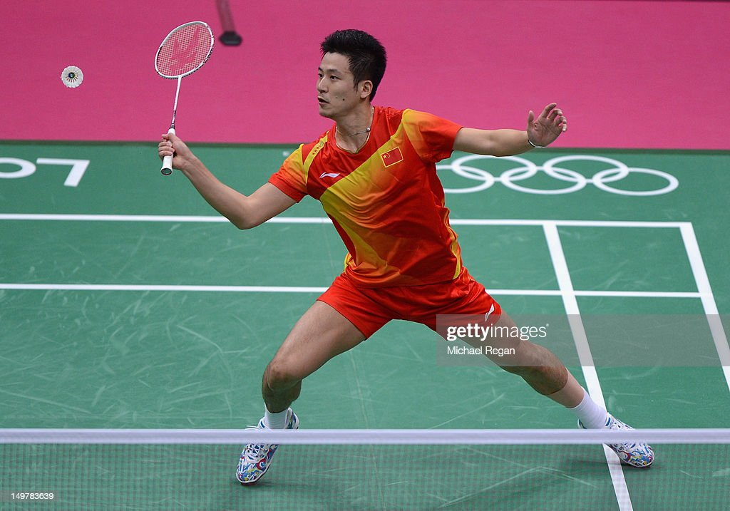 Yun Cai of China competes in his Men's Doubles Badminton Semi Final match against Boon Heong Tan and Kien Keat Koo of Malaysia on Day 8 of the London 2012 Olympic Games at Wembley Arena on August 4, 2012 in London, England.