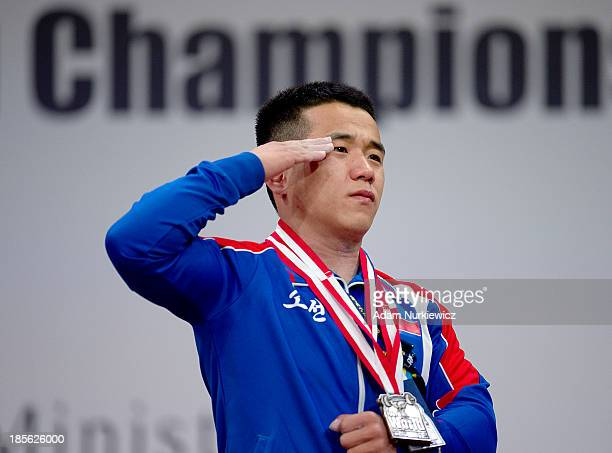 Yun Chol Om from North Korea with the gold medal during the the medal ceremony after the men's 56 kg Group A weightlifting IWF World Championships...