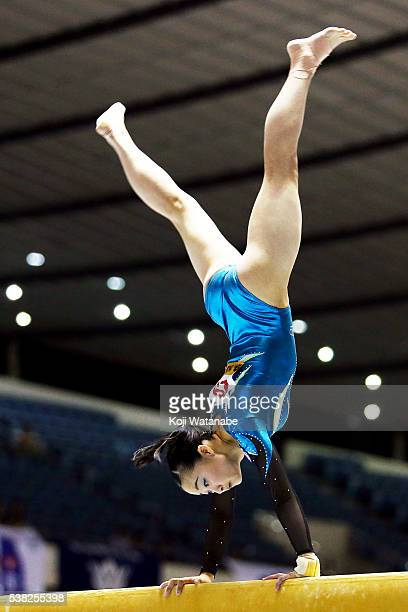 Yuna Hiraiwa competes on the pommel horse during the AllJapan Gymnastic Appratus Championships at Yoyogi National Gymnasium on June 5 2016 in Tokyo...