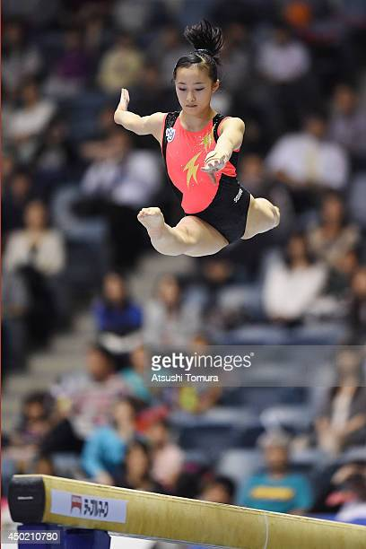 Yuna Hiraiwa of Japan competes in the Balance Beam during day one of the Artistic Gymnastics NHK Trophy at Yoyogi National Gymnasium on June 7 2014...
