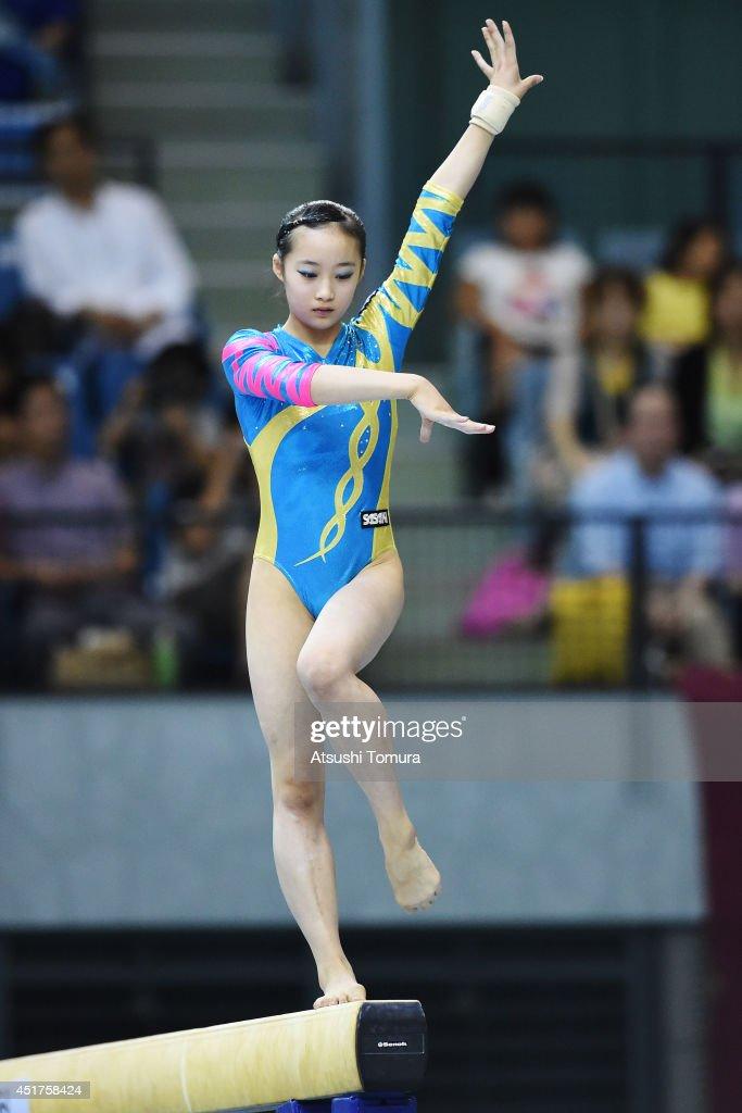 Yuna Hiraiwa of Japan competes in the Balance Beam during the 68th All Japan Gymnastics Apparatus Championships on July 6, 2014 in Chiba, Japan.