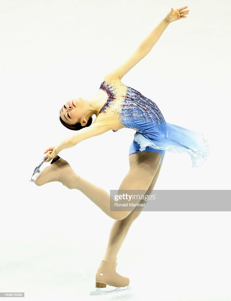 Yuna Kim of Korea competes in the Ladies Short Program during the 2013 ISU World Figure Skating Championships at Budweiser Gardens on March 14 2013...