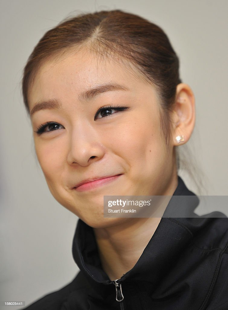 Yuna Kim of Korea during her press conference after winning the senior ladies freestyle section of the NRW trophy at Eissportzentrum on December 9, 2012 in Dortmund, Germany.