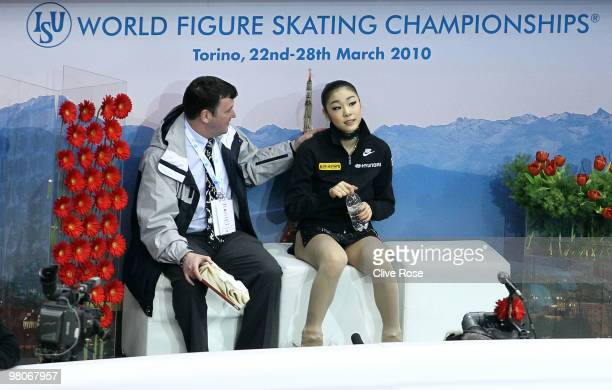 YuNa Kim of Korea looks on after her Ladies Short Program during the 2010 ISU World Figure Skating Championships on March 26 2010 at the Palevela in...