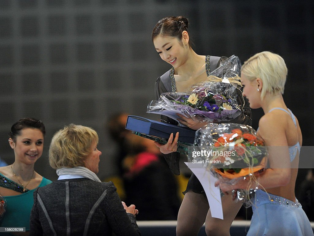 Yuna Kim of Korea ponders after winning the senior ladies freestyle section of the NRW trophy at Eissportzentrum on December 9, 2012 in Dortmund, Germany.