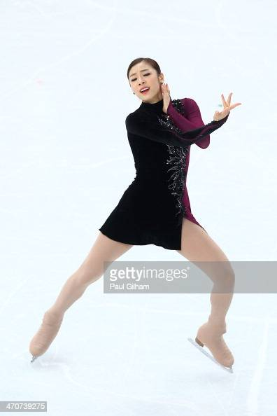 Yuna Kim of South Korea competes in the Figure Skating Ladies' Free Skating on day 13 of the Sochi 2014 Winter Olympics at Iceberg Skating Palace on...