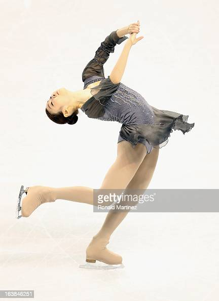 Yuna Kim of South Korea competes in the Ladies Free Skating during the 2013 ISU World Figure Skating Championships at Budweiser Gardens on March 16...