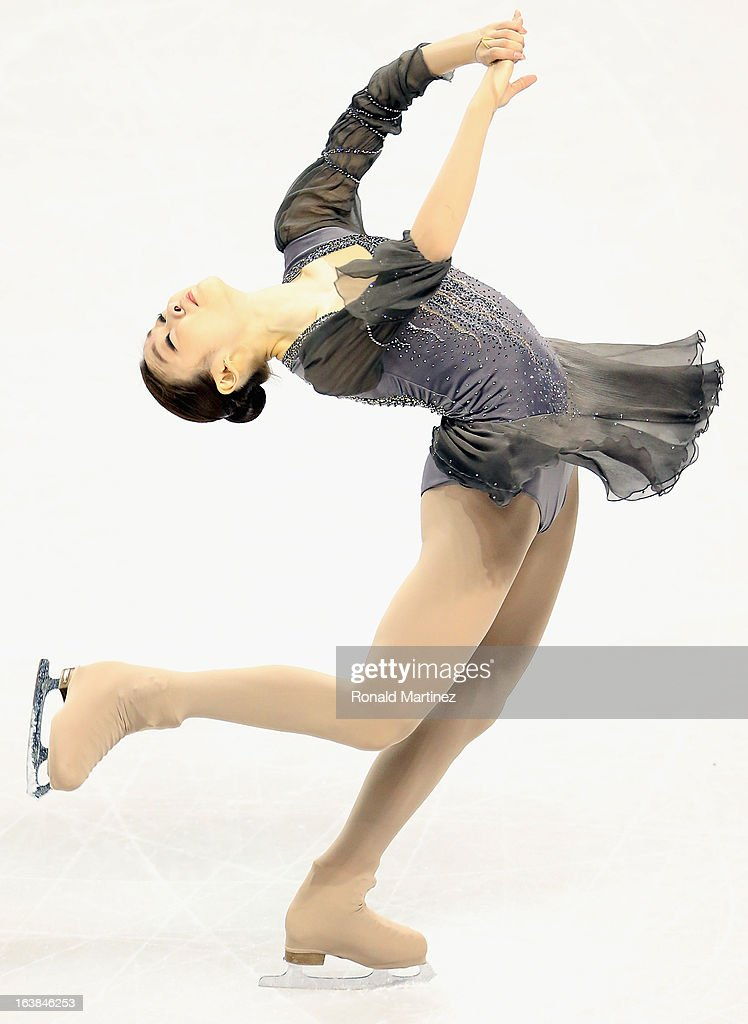 Yuna Kim of South Korea competes in the Ladies Free Skating during the 2013 ISU World Figure Skating Championships at Budweiser Gardens on March 16, 2013 in London, Canada.