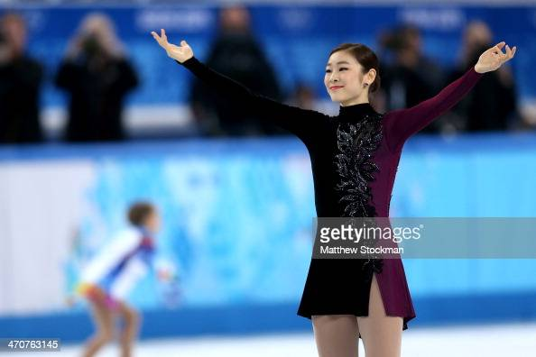 Yuna Kim of South Korea reacts after competing in the Figure Skating Ladies' Free Skating on day 13 of the Sochi 2014 Winter Olympics at Iceberg...