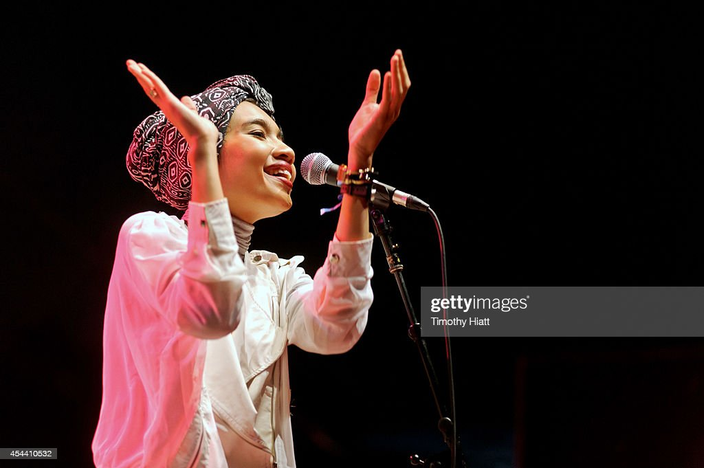 Yuna performs on stage at the Bumbershoot Festival on August 30, 2014 in Seattle, Washington.