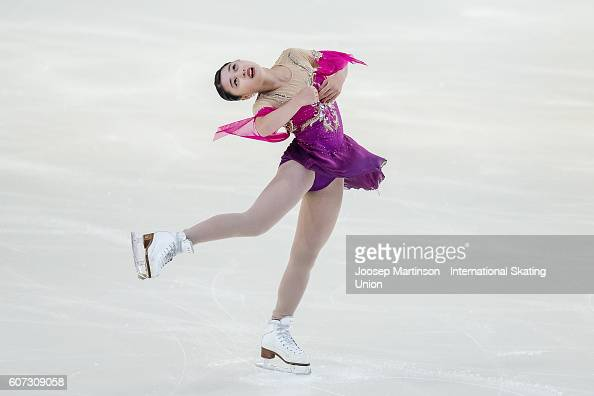 Yuna Shiraiwa of Japan competes during the Junior Ladies Free Skating on day three of the ISU Junior Grand Prix of Figure Skating on September 17...