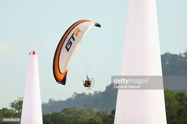 Yunan Nie of China competes in the Air Sports Powered Paragliding Individual Precision during the 2014 Asian Beach Games at Chaofa Mine on November...