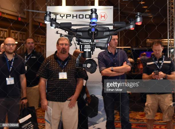 Yuneec's Typhoon H Pro drone is flown at InterDrone an international drone conference and exposition for commercial drones at the Paris Las Vegas on...