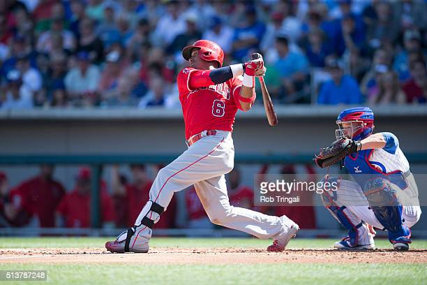 Yunel Escobar of the Los Angeles Angels during a spring training game against the Chicago Cubs at Sloan Park on March 4 2016 in Mesa Arizona