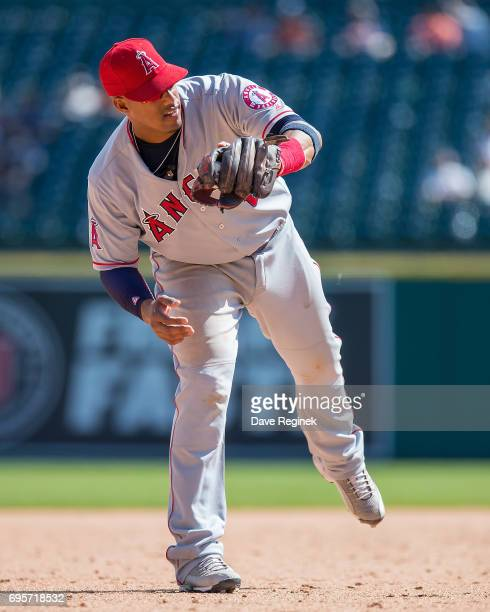 Yunel Escobar of the Los Angeles Angels of Anaheim catches the baseball in the eighth inning during a MLB game against the Detroit Tigers at Comerica...