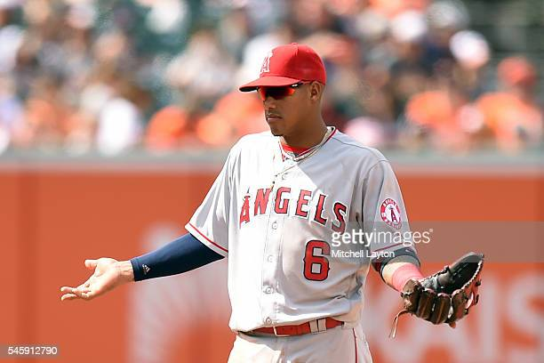 Yunel Escobar of the Los Angeles Angels of Anaheim reacts after getting ejected in the seventh inning during a baseball game against the Baltimore...